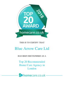 Bluearrow Care ranked No.1 in the Top 20 Home Care Agency Awards 2018